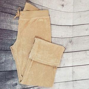 BCBG BEIGE VELOUR TRACK PANTS PLUS XL